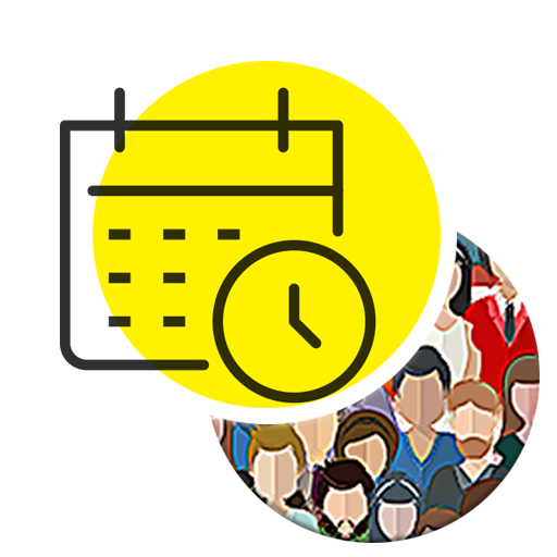 public hearing (icon) represented by a calendar and people