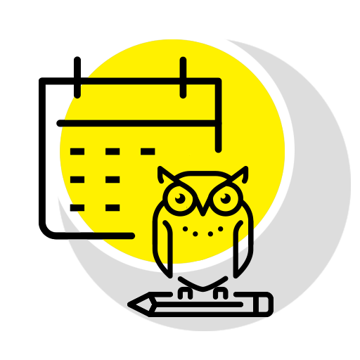 Study Session (icon) represented by a calendar and owl